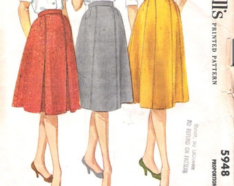 McCalls 5948 UNCUT 1960s 6 Gore Flared Skirt Vintage Sewing Pattern Waist 26