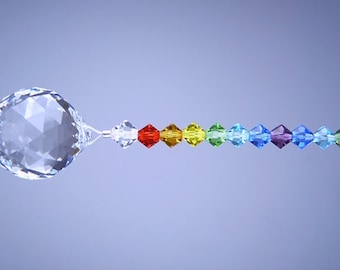 m/w Swarovski Crsytal Finest Round Ball Suncatcher with Double Chakra Colors Ornament by Lilli Heart Designs