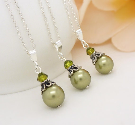 Green pearl necklace, Autumn Olive green bridesmaid necklace, Sterling silver green pearl drop necklace, Fall wedding Bridesmaid jewelry set