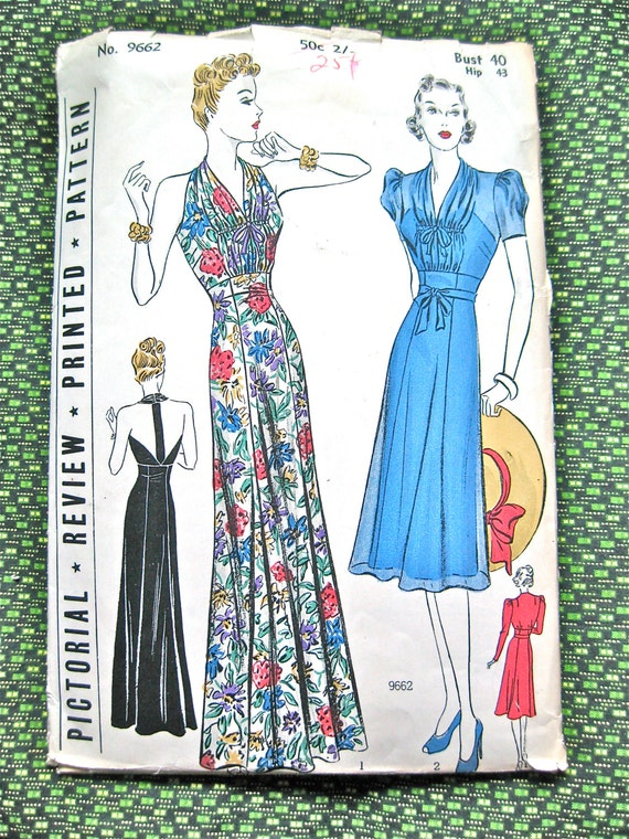 1930s Pictorial Review Halter Gown Sewing Pattern By