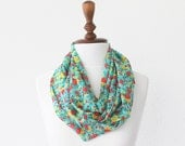 FREE SHIPPING Infinity Scarf - Loop Scarf - Circle Scarf - Brown Scarf - Cotton scarf Cowl Scarf with Mini Flowers