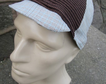 Cycling Cap - Plaid and Brown (Large)