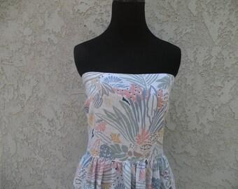 1970s Vintage Tropical Strapless Dress (Medium/Large)