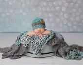 Newborn Boy Striped Button Hat
