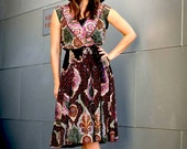 sheer paisley boho hippie dress- s m