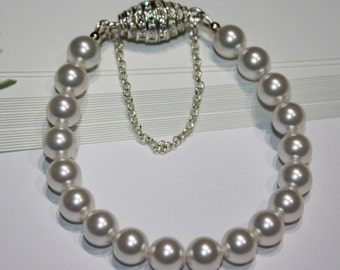 Pearl Bracelet Classic White Swarovski Crystalized Magnetic Barrel Clasp Safety Chain For Her Formal Wedding