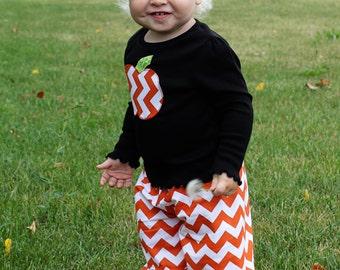 "Girls Halloween Outfit- Orange and White Chevron Pumpkin Shirt & Ruffle Pants - Made from Viola Lee Pattern ""Emma Lee"""