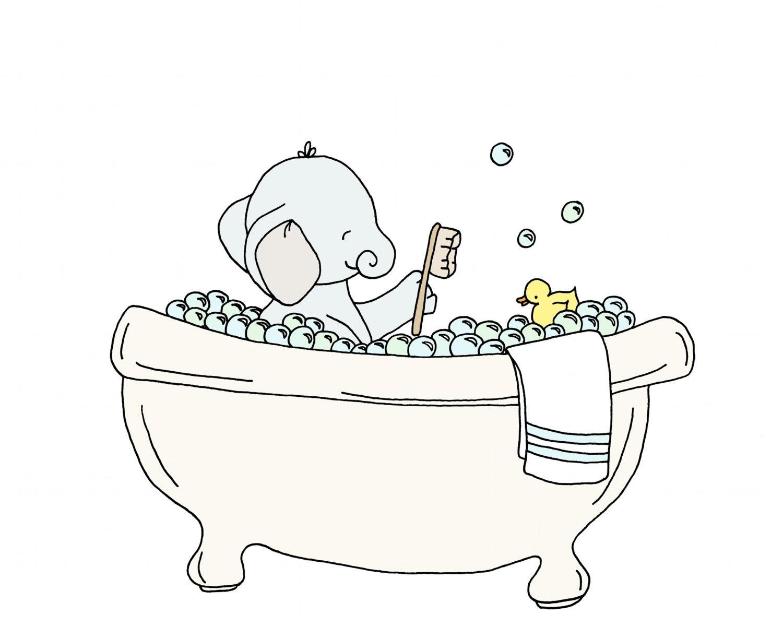 Kids Bathroom Art Elephant Bubble Bath Rubber Duckie