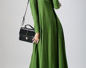 casual dress, green dress, shift dress, loose fitting dress, maxi dress, spring dress, womens dress, long sleeves dress, handmade (789)