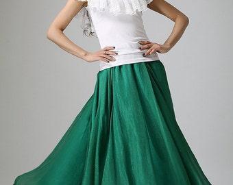 dark green skirt woman maxi skirt custom made chiffon skirt long tulle skirt  (893)