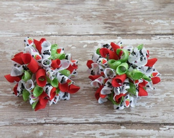"""2"""" Watermelon wedges and Ants Korker Pair, Watermelon hairbow, Watermelon and Ants bow, Watermelon bow"""