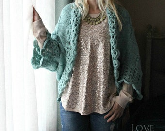 Hand Knit Cardigan - Turquoise Knit Sweater - Custom Made Cardigan - Womens Knitted Cardigan - Oversized Cardigan - Small Size- Plus Size