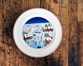 "Christmas Plate Villeroy & Boch NAIF Christmas Scene LaPlau 10 1/2"" Anne 1748 Rustic Porcelain Dinner Plate Christmas Table Decor"