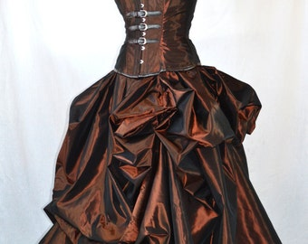 Steampunk wedding gown-steampunk dress-ball gown-steampunk prom dress-alternative wedding-untraditional- the secret boutique