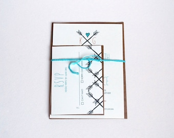 The Brea Collection -  Rustic Heart and Arrow Wedding Invitation Set in Gray, Teal, Orange and Cream - Purchase for a Sample