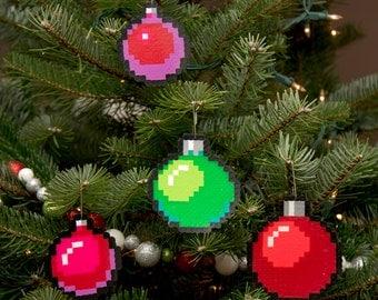 8 Bit Pixel Art Christmas Baubles (Set of 4)