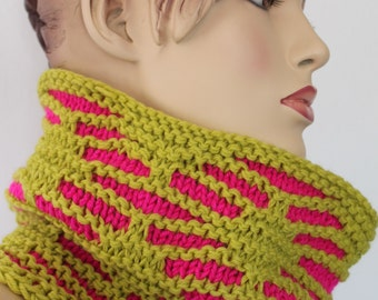 Chunky Knit  -  Hot Pink Chartreuse Hand Knit Cowl Scarf  - Neck Warmer