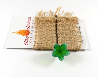 Emerald green glass flower bobby pin, hair accessory, bridal hair pin, weddings, bridemaids