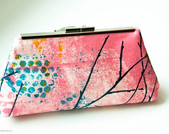 Screen Printed, Clutch Handbag Purse in Hot Pink, Turquoise and Purple