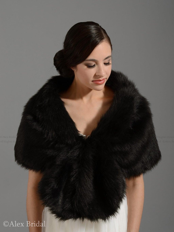 Faux fur wrap faux fur shawl faux fur shrug faux fur stole - Stoel fur ...