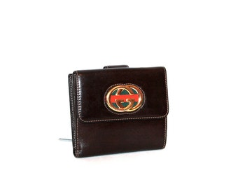 GUCCI Vintage Wallet Brown Leather Blondie Web Coin Purse - AUTHENTIC -