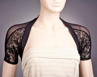 BLACK LACE Bolero, Short Sleeve Bolero, Short Sleeve Lace Bolero, Custom Bolero, Short Black Bolero, Evening Bolero