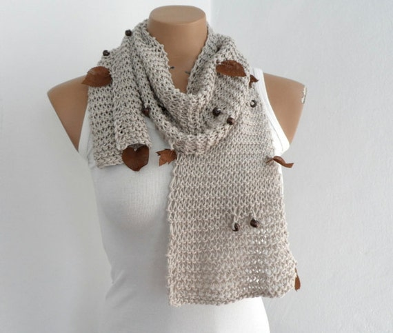 Cotton Scarf in Neutral Beige, Women Scarf