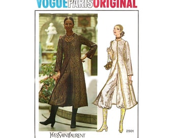 Rare 1970s YVES SAINT LAURENT Coat & Knickers Pattern Vogue Paris Original 2501 Knickerbockers Vintage Sewing Pattern Size 12 Bust 34 inches