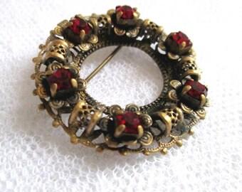 Vintage Red Rhinestone and Brass Filigree Circle Pin Brooch
