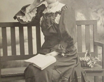 Antique Photograph - Woman in Spectacles with a Book