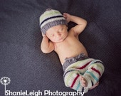 Newborn Knit Pants Hat Set, Baby Knitted Cap, Vintage Inspired Infant Photo Prop, Longies, Cream, Red, Blue, Green, Gray Striped Night Cap