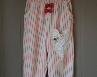 Upcycled French Pin Striped Highwaisted  Pants // Eco chic by Liinaloom // Bobbin Lace Pocket  // Handsewn // crocheted lace pants