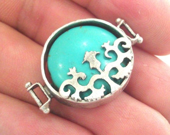 Silver Connector Turquoise  Connectors , Antique Silver Plated Brass  Bezels G1194