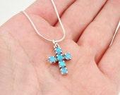 Opal 925 silver Cross, Blue opal, Israel art sterling silver blue opal pendant , Tiny cross, Free shipping, ready to ship