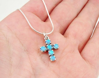 Opal 925 silver Cross, Blue opal, Israel art sterling silver blue opal pendant , Tiny cross, Free shipping, ready to ship