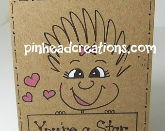 """Greeting Card PinHead Happy Face """"You're a Star"""""""