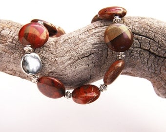 Red Jasper Stone Bracelet, Natural Stone Bracelet, Earthy Red Boho Chic, Sterling Silver, Polished Stone