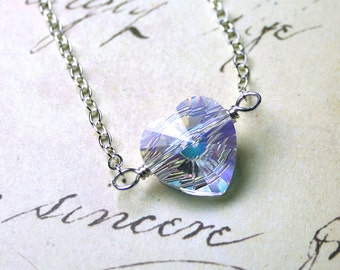 Modern Heart Pendant in Crystal AB - Wire Wrapped Swarovski Crystal Heart - Sterling Silver
