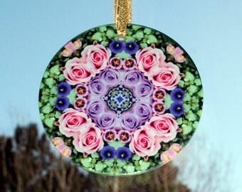 Rose Suncatcher Mandala Boho Chic Sacred Geometry Hippie Kaleidoscope Mod Gypsy Unique Gift For Her New Age Bohemian Elegant Enchantment