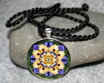 Yellow Daisy Mandala Pendant Necklace Sacred Geometry Kaleidoscope Boho Chic Unique Gift For Her Hippie Flower Child Bohemian Sunny Splendor