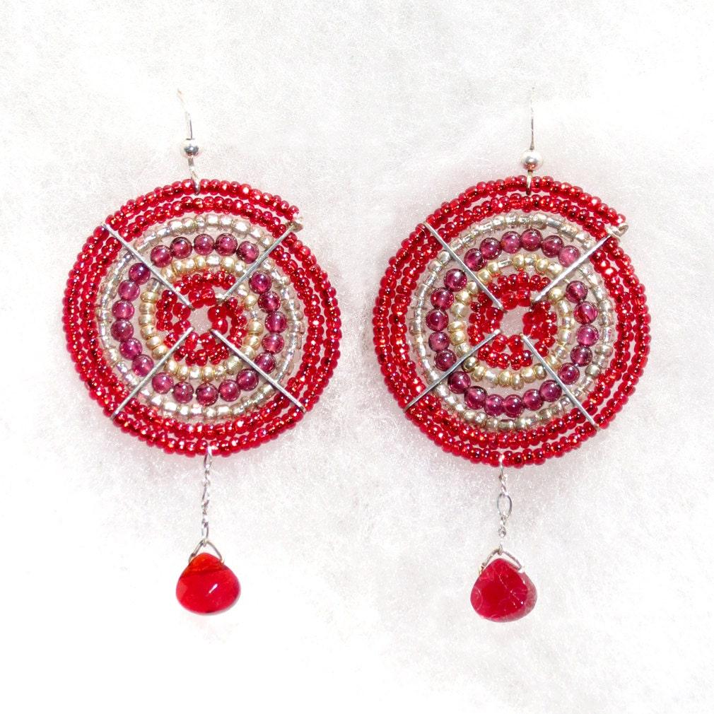 Masai Jewelry Garnet Dangle Earrings Maasai Beaded Small