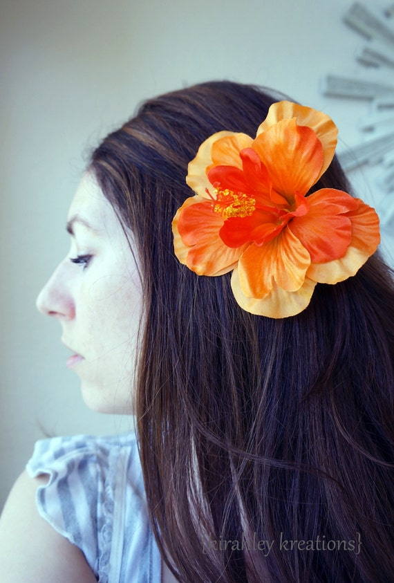 BLOOD ORANGE HIBISCUS -- Sexy Hawaiian Summer Luau Hibiscus Flower Pin Up Hair Clip Destination Island Wedding Beach Bridal Bride Headpiece