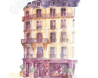 Paris fashion Dior house, Paris watercolor illustration, Paris art print, Parisian architectural drawing, 8X10 home decor, Paris sketch