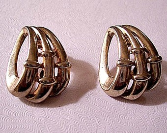 Oval Open Rings Pierced Earrings Gold Tone Vintage Weaved Bands Long Round Wide Strands