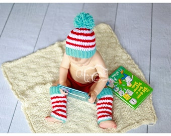 Download PDF crochet pattern s018 - Stripe pompom hat and leg warmers