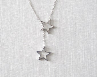 Twinkle Star Lariat Necklace - SILVER