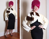 LUXURIOUS 1950's Cropped Silk Velvet Faux Fur Swing Bolero w/ Chocolate Brown Mink Fur Tails Trim / Sash by Best & Co. Fifth Ave. New York