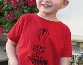 SPIDERMAN KID'S SHIRT Keep Calm and Call Spiderman Red Ringspun Cotton for Toddlers