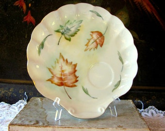 Vintage White Porcelain Hand Painted Luncheon Plate with Fall Leaves, 1956, Shabby Chic
