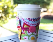 Reusable Coffee Cup Sleeve / Coozie by CK Stitches - Sunny Day Flowers - Pink, Teal, and Yellow Floral Coffee Cozy - Cute Eco Friendly Gift